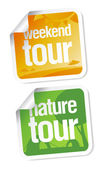 Weekend tours stickers — Stock Vector