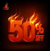 Ateşli %50 indirimli satış arka plan. — Stok Vektör