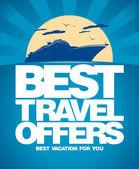 En iyi seyahat teklifler tasarım şablonu. — Stok Vektör