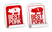 Pork meat stickers. — Stock Vector