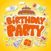 день рождения партии дизайн шаблона. — Cтоковый вектор