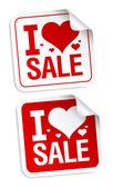 I love sale stickers. — Stock Vector