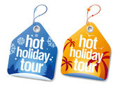 Hot holiday tour labels. — Stock Vector