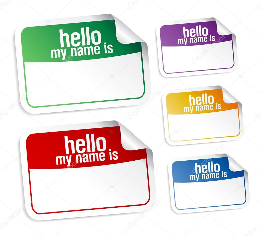 Color name tag blank stickers set, hello my name is. — Stock Vector #13885464