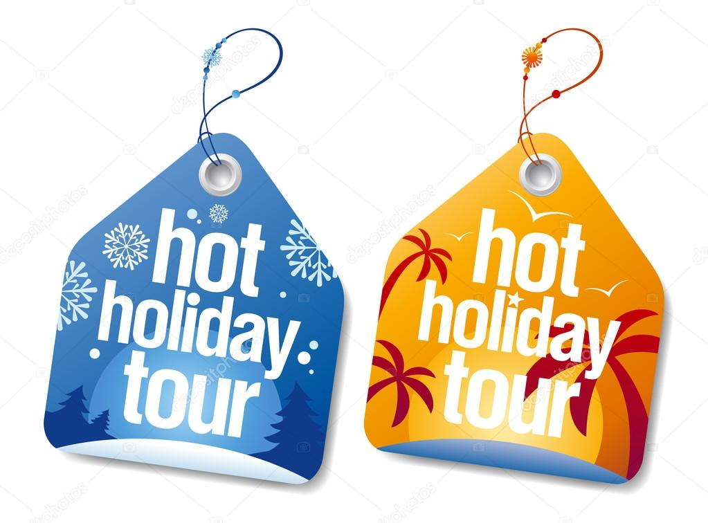 Hot holiday tour labels set. — Stock Vector #13885605