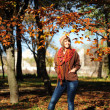 Girl in autumn leaves. — Foto de Stock
