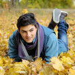 Young man sitting in park. - Stockfoto
