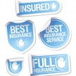 Stok Vektör: Insurance service stickers.