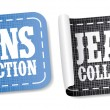 Jeans collection stickers - Stock Vector