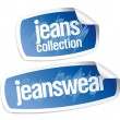 Jeanswear collection stickers - Stock Vector