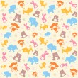 Vector de stock : Child seamless pattern with animals.