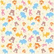 Stock vektor: Child seamless pattern with animals.
