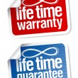 Life time guarantee stickers - Stock Vector