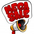Mega Sale sign from megaphone — Stock Vector
