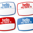 Stock Vector: Hello my name is color signs.