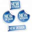 New Design and Version stickers. - Stock vektor