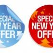 Special New Year offer stickers. — Stock Vector
