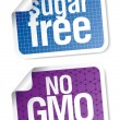 Labels for sugar free and bio food - Stock Vector