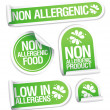 Royalty-Free Stock Vector Image: Non allergenic products stickers.