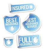Adesivi servizio assicurativo. — Vettoriale Stock