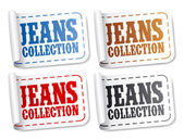 Jeans collection stickers — Stock Vector