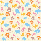 Child seamless pattern with animals. — Vector de stock