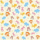 Kind naadloze patroon met dieren. — Stockvector