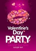 De dag van valentijnskaarten partij ontwerpsjabloon. — Stockvector