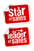 Leader of sales stickers. — Stock Vector