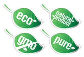 Ecology product stickers, GMO free. — Stock Vector