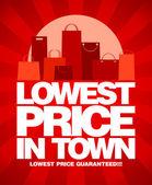 Laagste prijs in stad verkoop ontwerp. — Stockvector