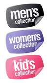 Mens, womens and kids collection stickers — Stock Vector