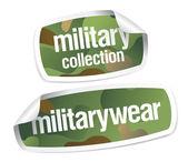 Autocollants de collection de vêtements militaires — Vecteur