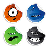 Monster smileys stickers. — Stock Vector