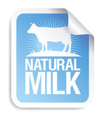 Naturlig mjölk klistermärke. — Stockvektor