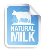 Přírodní mléko nálepka. — Stock vektor