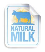 Etiqueta engomada de la leche natural. — Vector de stock