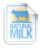 Natural milk sticker — Stock Vector