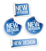New Design and Version stickers. — Stock Vector
