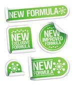 Nuevas fórmulas pegatinas. — Vector de stock