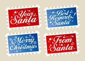 Christmas postage stamps. — Stock Vector