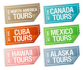 Travel stickers tickets. — Vector de stock