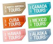 Viaggio biglietti adesivi. — Vettoriale Stock