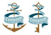 Símbolos para las empresas marinas. — Vector de stock