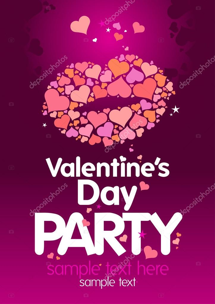 Valentines Day Party design template with lips and place for text. — Векторная иллюстрация #14197665