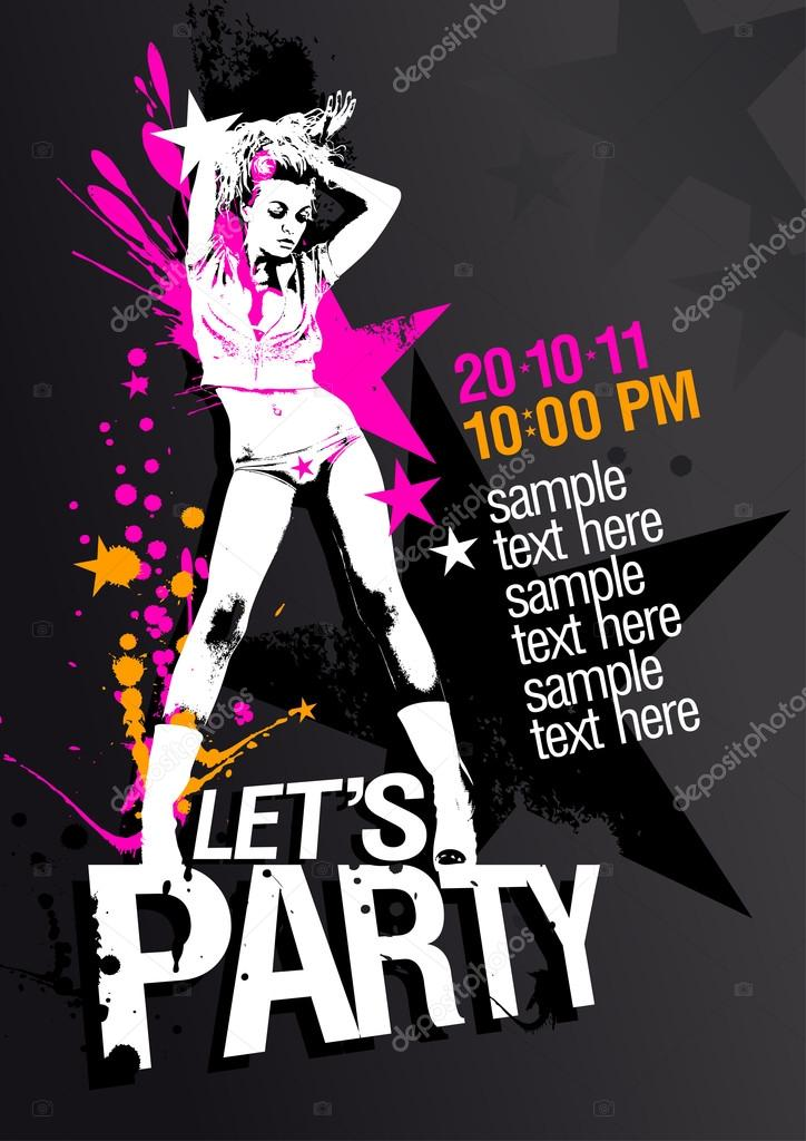 Lets Party design template with fashion girl and place for text. — Stock Vector #14197791
