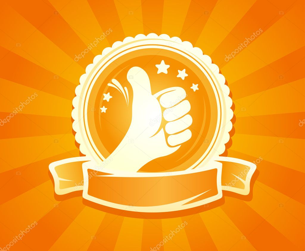 Hand thumbs up emlbem for best of the best. With place for text.  Stock Vector #14197802