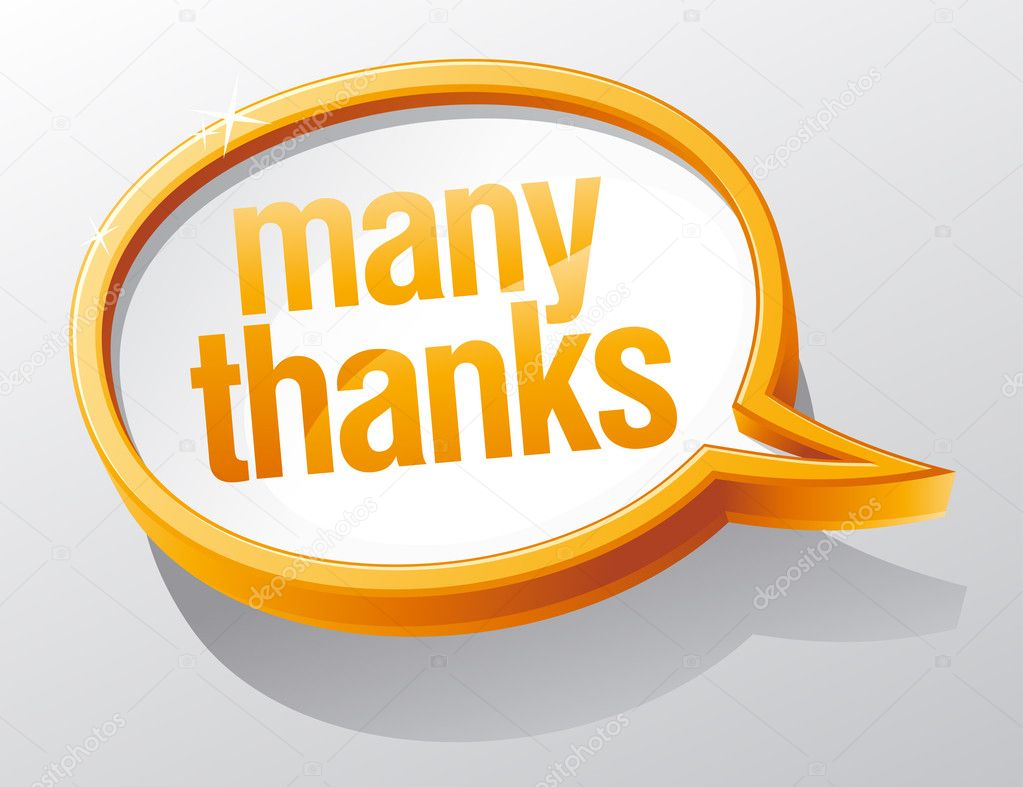 Many thanks shiny glass speech bubble. — Stock Vector #14197940