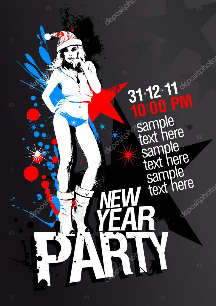New Year Party design template with fashion girl and place for text. — Stock Vector #14198429