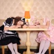 Girls dressed as dolls. — Stock Photo